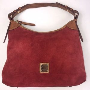 Dooney & Bourke Suede Red Purse Hobo